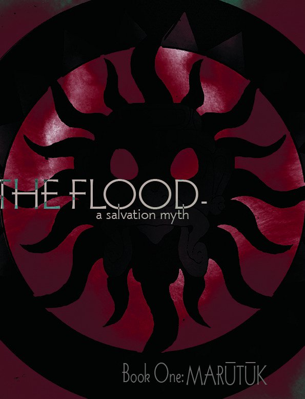 "Cover to ""The Flood ~ a salvation myth"" - Shadowy crest of the god Marutuk. Click to read."