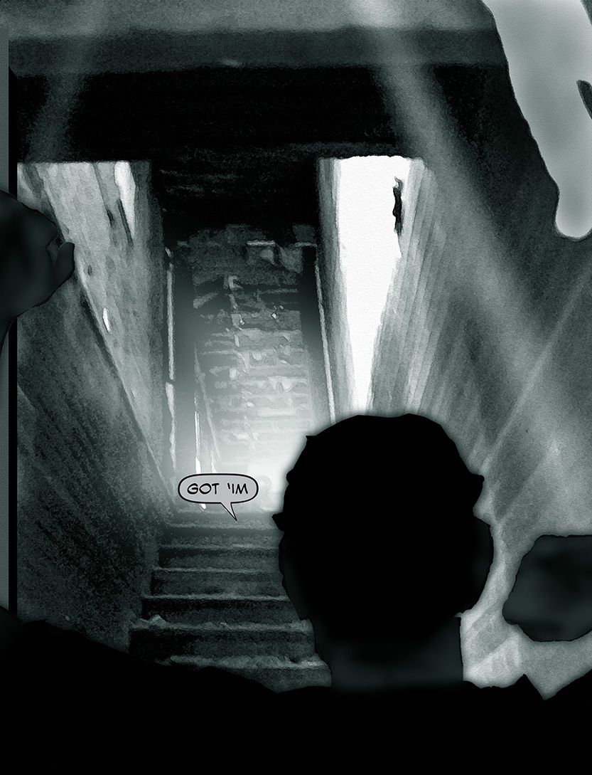 John finds God, stairwell to Nirvana, from the comic book series: THE FLOOD ~ a salvation myth