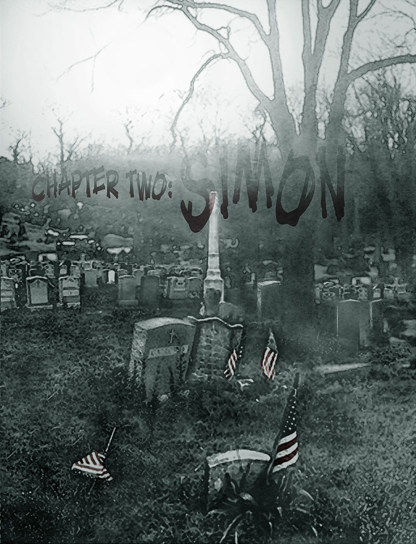 Simon title page - splash page graveyard shot, from the comic book series: THE FLOOD ~ a salvation myth