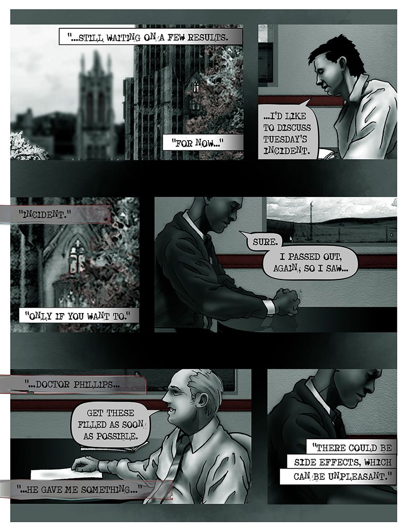 Man at hospital- doctors' consultation, from the comic book series: THE FLOOD ~ a salvation myth