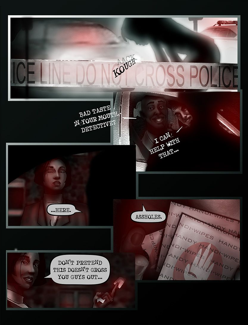 Detective James Haye arrives at (Simon's) crime scene, from the comic book series: THE FLOOD ~ a salvation myth
