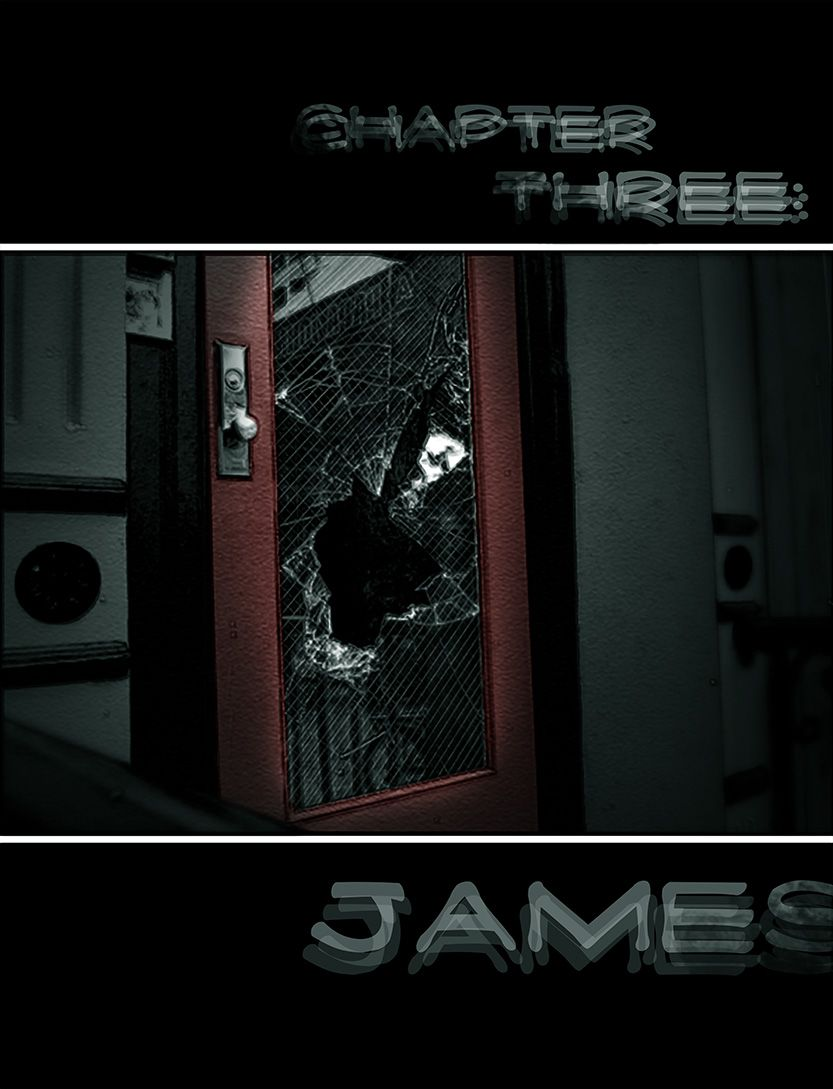 James' title page- gunshots through glass, from the comic book series: THE FLOOD ~ a salvation myth