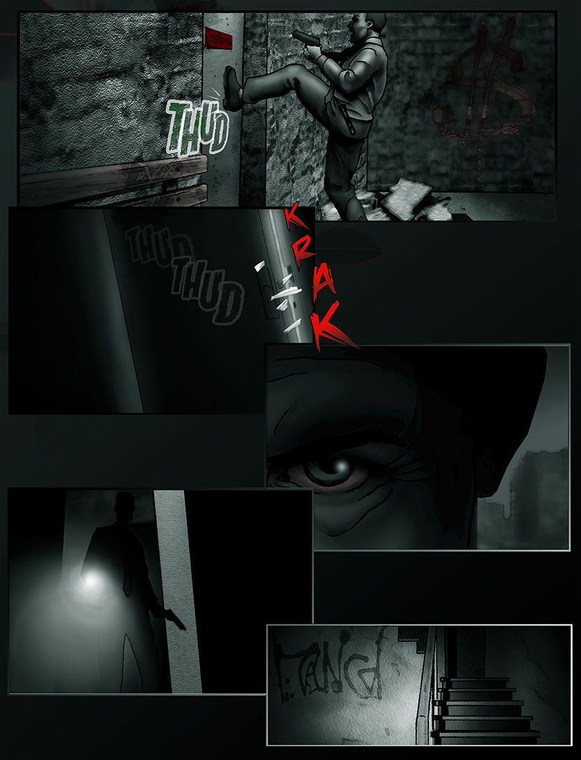 Detective breaks down the door and enters the tenement, from the comic book series: THE FLOOD ~ a salvation myth
