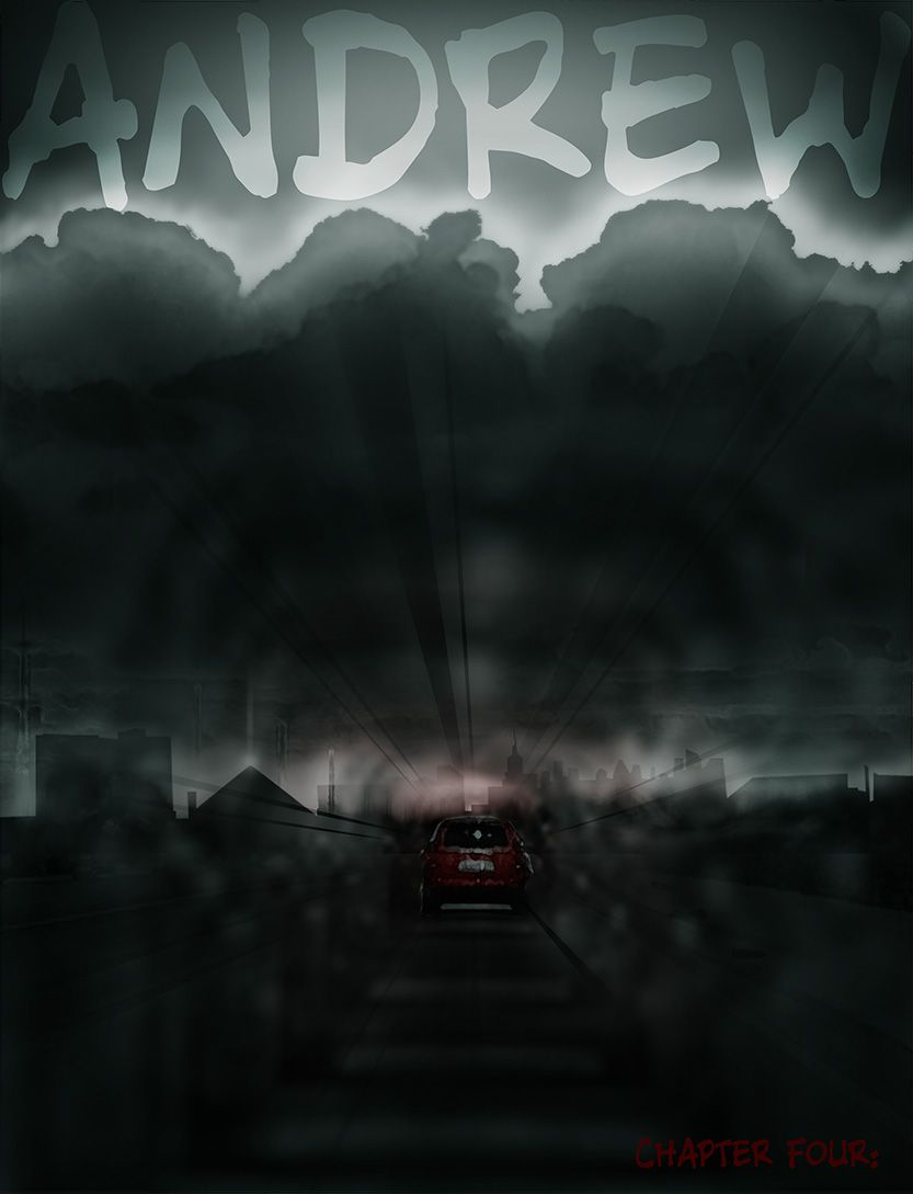 Andrew's title page- driving to Vegas, from the comic book series: THE FLOOD ~ a salvation myth