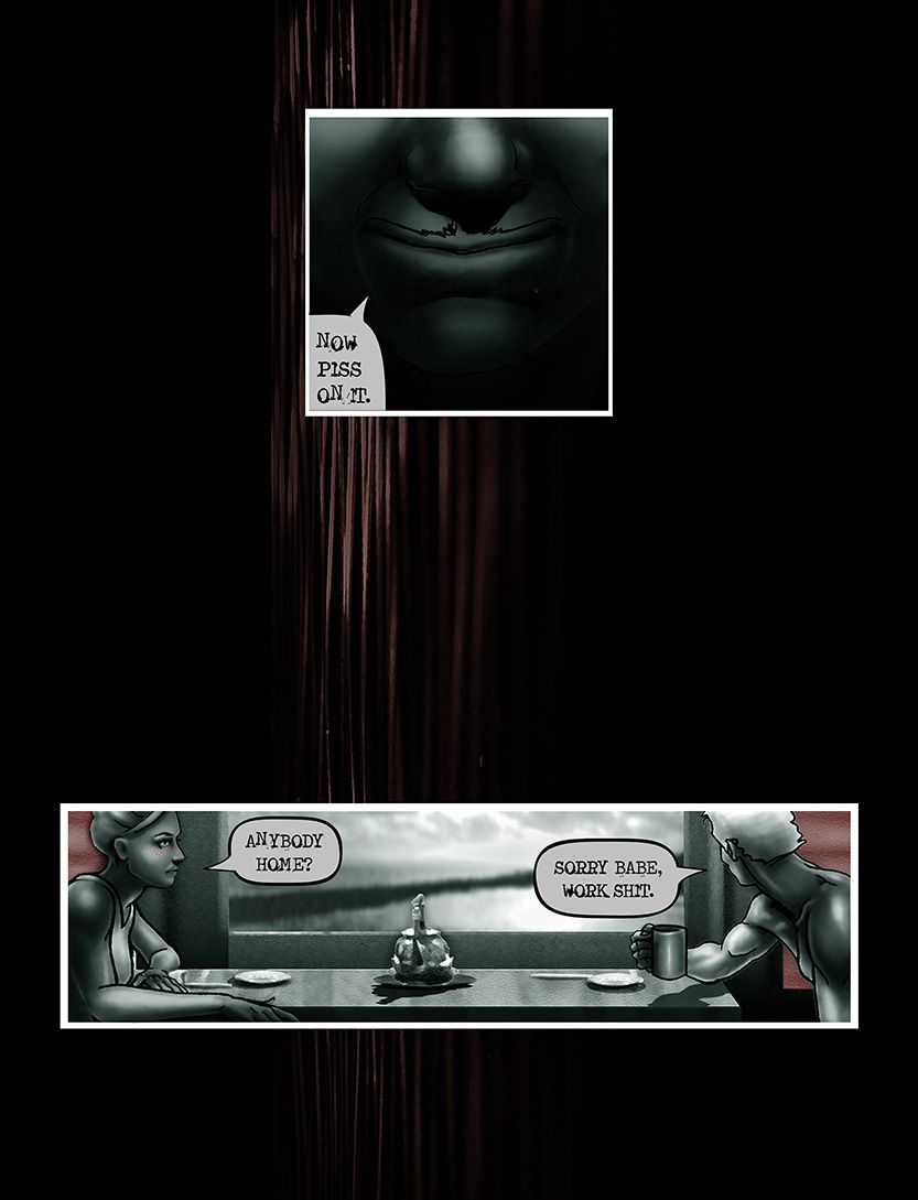 Husband torn between lives, from the comic book series: THE FLOOD ~ a salvation myth