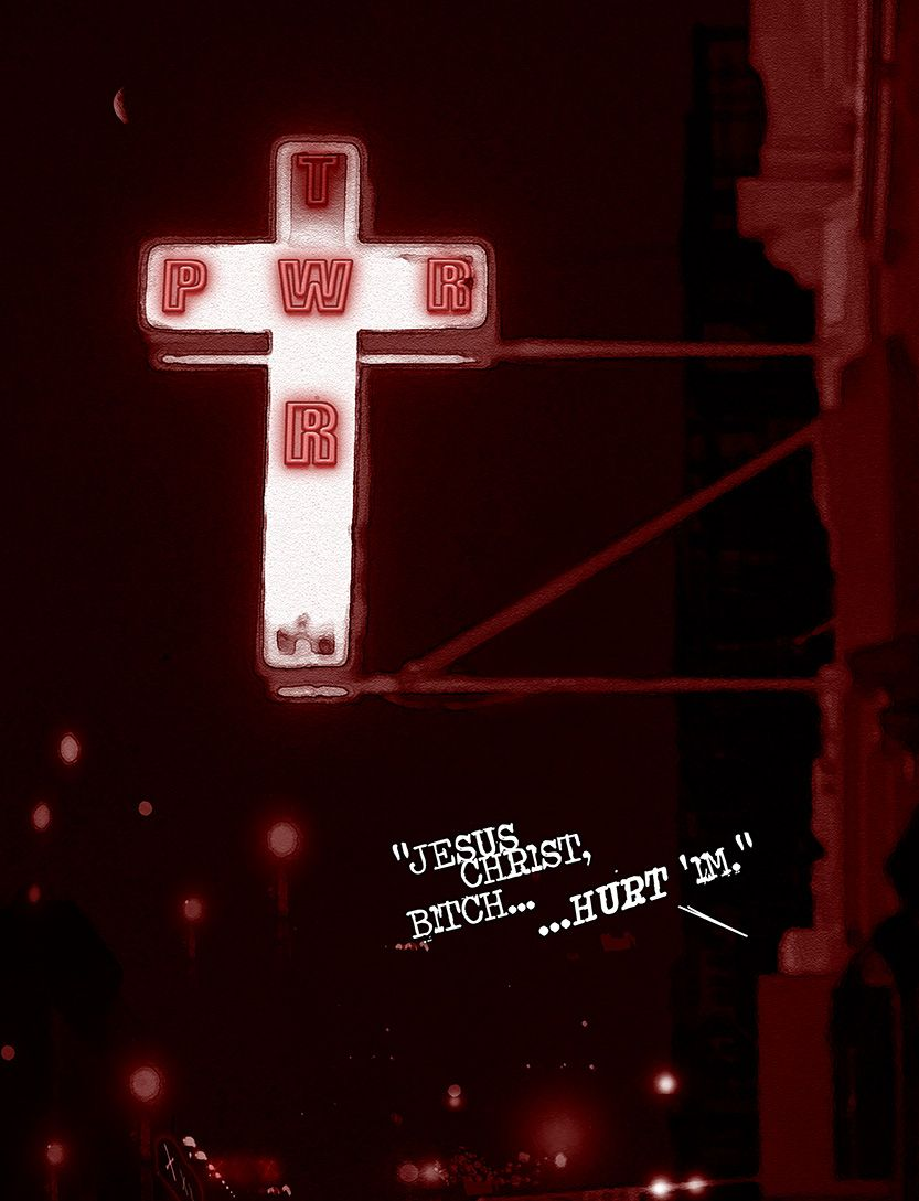 The neon-sign (cross) for Andrew's favorite fetish club, from the comic book series: THE FLOOD ~ a salvation myth