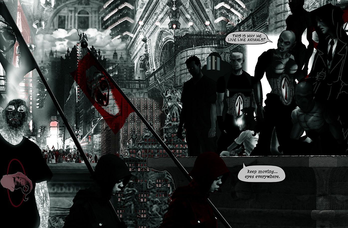 Double splash page of the team in Heaven (Marutuk's penthouse), from the comic book series: THE FLOOD ~ a salvation myth