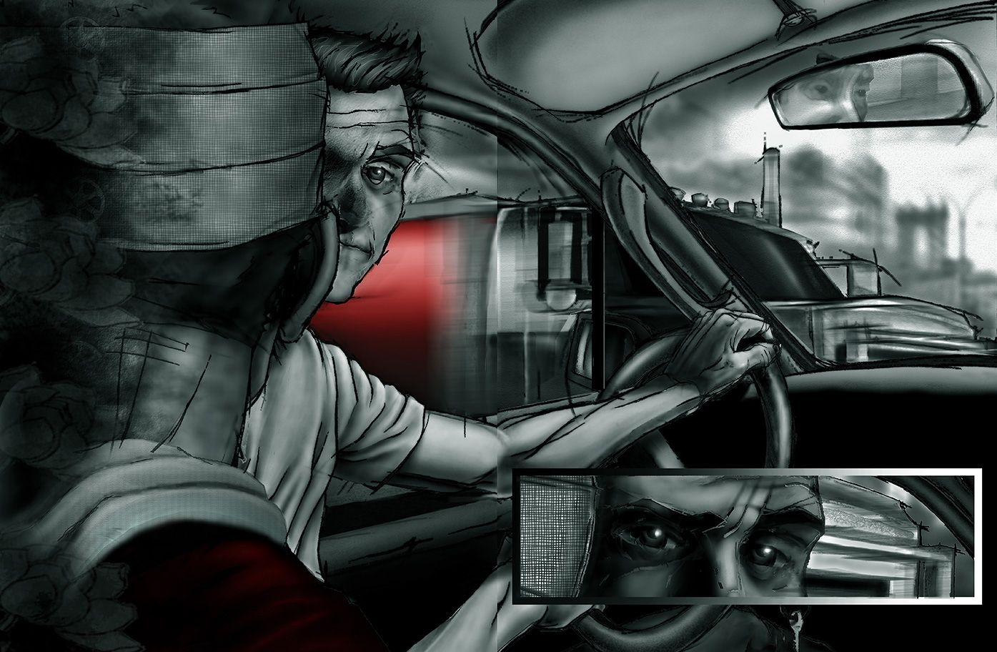 A sister's premonition- driving with her brother Tomas, from the comic book series: THE FLOOD ~ a salvation myth