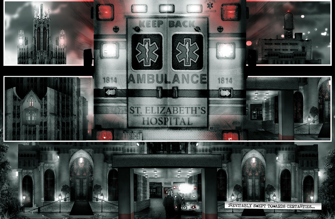 Ambulance arriving at hospital, from the comic book series: THE FLOOD ~ a salvation myth